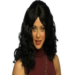 Περούκα Σαμάνθα σγουρή μεσαίο μήκος μαύρη