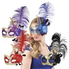 Μάσκα ματιών Βενετίας με φτερό και λουλούδι σε 4 χρώματα