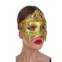 Μάσκα Ματιών Βενετίας Paper Mache χρυσή Deluxe
