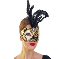Μάσκα Ματιών Βενετίας Paper Mache με φτερά μαύρο χρυσό 2 σχέδια