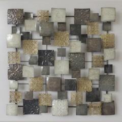 Σύνθεση τοίχου τετράγωνα καφέ χρυσό κρεμ μεταλλική