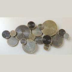 Σύνθεση τοίχου κύκλοι χρυσό γκρι μεταλλική