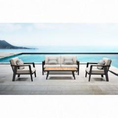 Emoti set 2 σαλόνι αλουμινίου teak με διθέσιο καναπέ