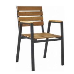 Πολυθρόνα Falcon μεταλλική με ξύλο teak στοιβαζόμενη