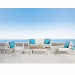 Nofi 2 set σαλόνι με διθέσιο καναπέ λευκό αλουμίνιο και teak