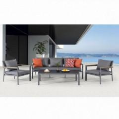 Prego Lounge σαλόνι κήπου αλουμινίου γκρι με τριθέσιο καναπέ