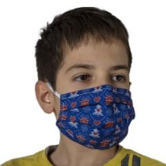 Υφασμάτινη μάσκα προστασίας παιδική μπλε με χριστουγεννιάτικα σχέδια