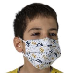 Υφασμάτινη μάσκα προστασίας λευκή με χριστουγεννιάτικα σχέδια ho ho