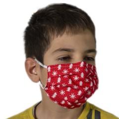 Υφασμάτινη μάσκα προστασίας κόκκινη με χριστουγεν σχέδια δεντράκια