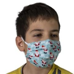Υφασμάτινη μάσκα προστασίας γαλάζια με χριστουγεννιάτικα σχέδια άι Βασίλη