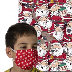 Υφασμάτινη μάσκα προστασίας παιδική κόκκινη με φιγούρες άι Βασίλη
