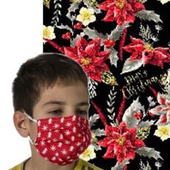 Υφασμάτινη μάσκα προστασίας μαύρη με χριστουγεννιάτικα λουλούδια