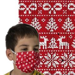 Υφασμάτινη μάσκα προστασίας κόκκινη με λευκά χριστουγεννιάτικα σχέδια