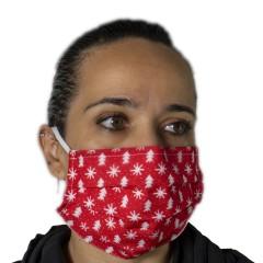 Υφασμάτινη μάσκα προστασίας ενηλίκων κόκκινη με χριστουγεννιάτικα σχέδια δεντράκια