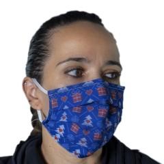 Υφασμάτινη μάσκα προστασίας ενηλίκων μπλε με χριστουγεννιάτικα σχέδια