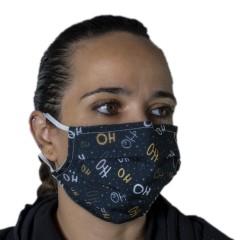 Υφασμάτινη μάσκα προστασίας ενηλίκων μαύρη με χριστουγεννιάτικα σχέδια ho ho