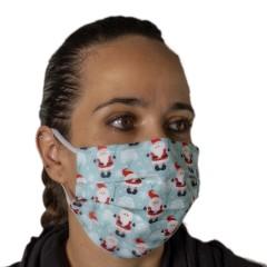 Υφασμάτινη μάσκα προστασίας ενηλίκων γαλάζια με χριστουγεννιάτικα σχέδια άι Βασίλη