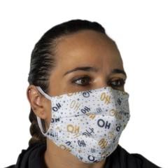 Υφασμάτινη μάσκα προστασίας ενηλίκων λευκή με χριστουγεννιάτικα σχέδια ho ho