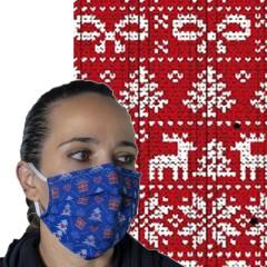 Υφασμάτινη μάσκα προστασίας ενηλίκων κόκκινη με λευκά χριστ σχέδια