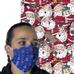 Υφασμάτινη μάσκα προστασίας ενηλίκων κόκκινη με φιγούρες άι Βασίλη