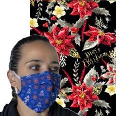 Υφασμάτινη μάσκα προστασίας ενηλίκων μαύρη με χριστουγεννιάτικα λουλούδια