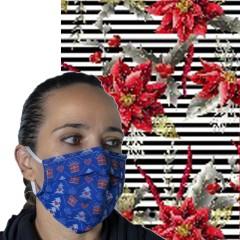 Υφασμάτινη μάσκα προστασίας ενηλίκων ριγέ με χριστουγεννιάτικα αλεξανδρινά