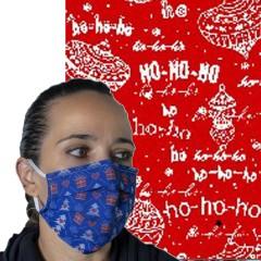 Υφασμάτινη μάσκα προστασίας ενηλίκων κόκκινη με χριστουγεννιάτικα σχέδια