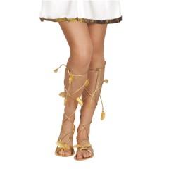 Σανδάλια χρυσά με φύλλα γυναικεία