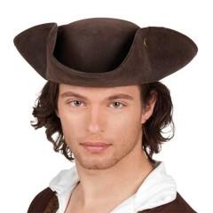 Καπέλο πειρατή τρίκοχο καφέ σουέτ