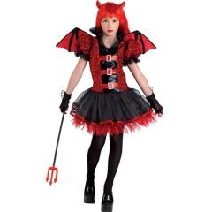 Fancy Devil στολή για κορίτσια Διαβολάκι με φτερά μαύρη φούστα