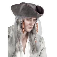 Καπέλο πειρατή φάντασμα με μαλλιά και χάντρες