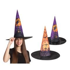 Καπέλο μάγισσας μαύρο μωβ σε δύο σχέδια