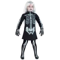 Σκελετούλα στολή σκελετού φόρεμα για κορίτσια