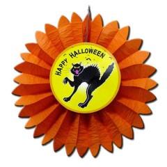 Γιρλάντα happy Halloween Ήλιος με Μαύρη γάτα Ø 60cm