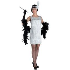 Τσάρλεστον ασημένια με κρόσσια γυναικεία στολή ενηλίκων