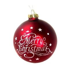 Γυάλινη κόκκινη μπάλα 10cm με λευκή ευχή Merry Christmas