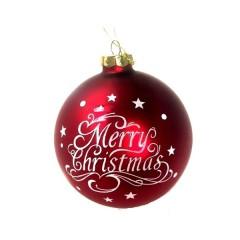 Γυάλινη κόκκινη μπάλα 8cm με λευκή ευχή Merry Christmas