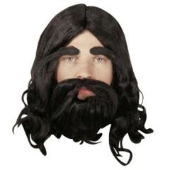 Περούκα Προφήτη Μαύρη με μούσι και μουστάκι