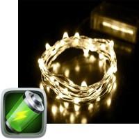100 λαμπάκια led μπαταρίας χάλκινο σύρμα λευκό θερμό φως με χρονοδιακόπτη