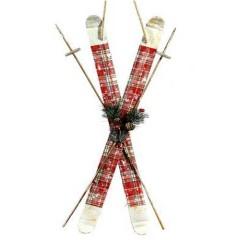 Κρεμαστό διακοσμητικό ζευγάρι πέδιλα σκι με κόκκινα σχέδια χριστουγεννιάτικα  90cm