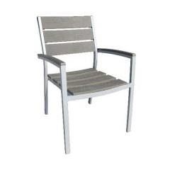 Ferrara πολυθρόνα αλουμινίου polywood στοιβαζόμενη σε 2 χρώματα