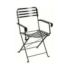 Ζαππείου πολυθρόνα παραδοσιακή μεταλλική πτυσσόμενη μαύρο χρώμα