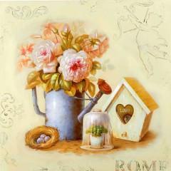 Κάδρο με τύπωμα βάζο με λουλούδια και φωλιά σε δύο σχέδια 80x80cm