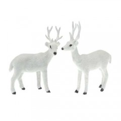 Ταρανδάκια λευκά ύψος 15cm διακοσμητικά σε δύο σχέδια για χριστουγεννιάτικη διακόσμηση