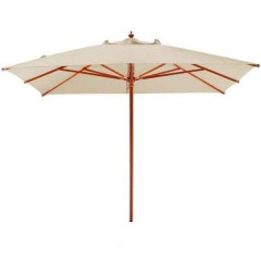 Ομπρέλα 3x3m ξύλινη τετράγωνη  με εκρού πανί βαρέως τύπου