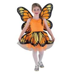 Πεταλούδα πορτοκαλί στολή για κορίτσια με φτερά Μαριπόζα