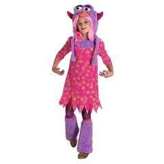Τερατάκι μοδάτη στολή για κορίτσια με fluffy trims σε ροζ και μοβ φόρεμα