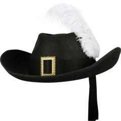 Καπέλο Ιππότη Σωματοφύλακα Μαύρο ενηλίκων με φτερό