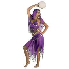 Λεϊλά  στολή ενηλίκων χανούμισσας μοβ με φλουριά