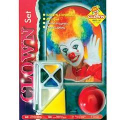 Μακιγιάζ Κλόουν 5 χρώματα σετ με Μύτη